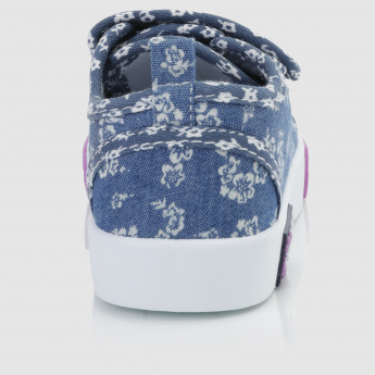 Printed Sneakers with Hook and Loop Closure