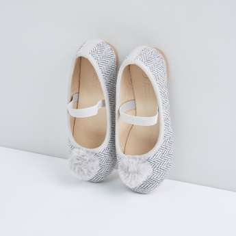 Textured Slip-On Shoes with Pom Pom Detail and Elasticised Strap