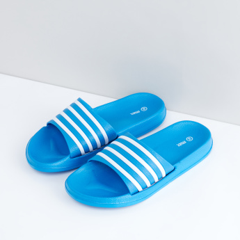 Textured Slides with Striped Straps