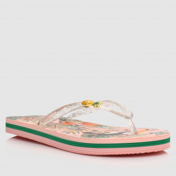 Printed Thong Sandals with Applique Detail