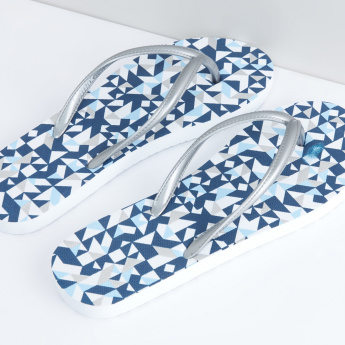Printed Flip Flops with Stitch Detail Straps