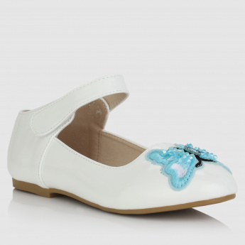 Embroidered Shoes with Hook and Loop Closure