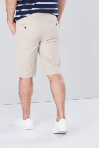 Solid Chino Shorts with Pocket Detail and Belt Loops