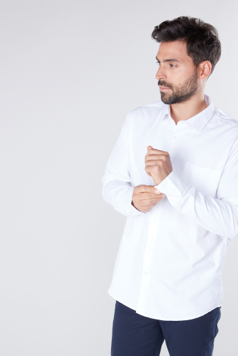 Solid Formal Shirt with Long Sleeves in Regular Fit