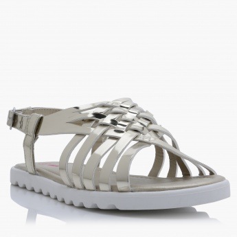 Metallic Sandals with Buckle Closure