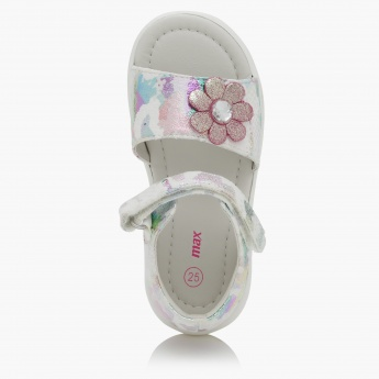 Printed Sandals with Flower Applique