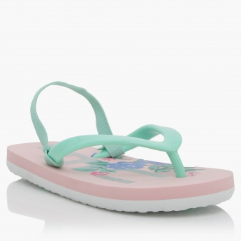 Printed Thong Slippers with Elasticised Back Strap