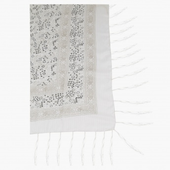 Printed Square Scarf with Tassels
