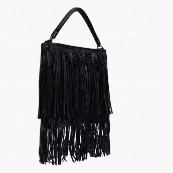Fringed Handbag with Zip Closure