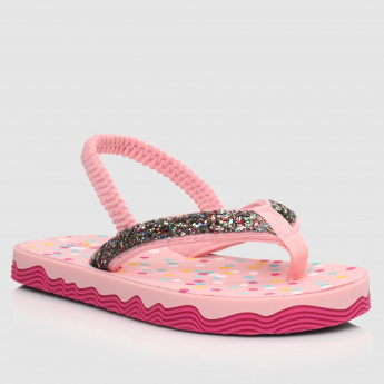 Embellished Thong Sandals with Elasticised Back Strap