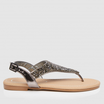 Embellished Flat Sandals with Buckle Closure
