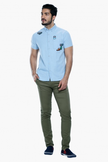 Embroidered Short Sleeves Shirt with Button Placket
