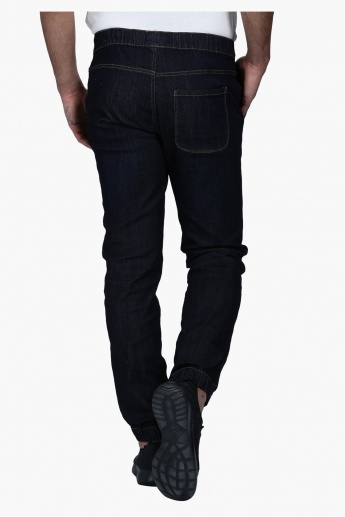 Full Length Denim Jog Pants with Elasticised Waistband in Slim Fit