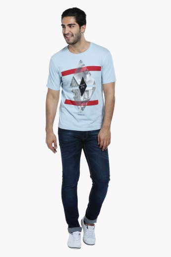 Printed T-Shirt with Round Neck and Short Sleeves in Regular Fit