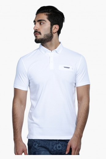 Short Sleeves Polo Neck T-Shirt with Welt Pocket