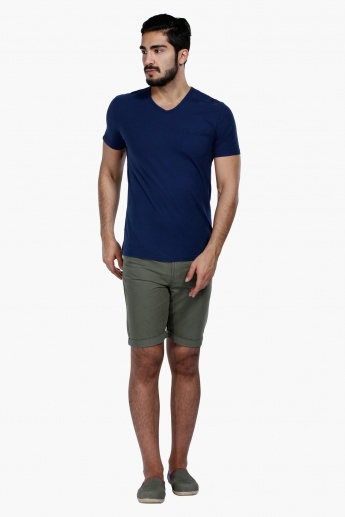 Shorts with Button Closure in Slim Fit