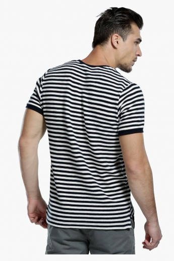 Striped T-Shirt with Crew Neck and Short Sleeves in Slim Fit