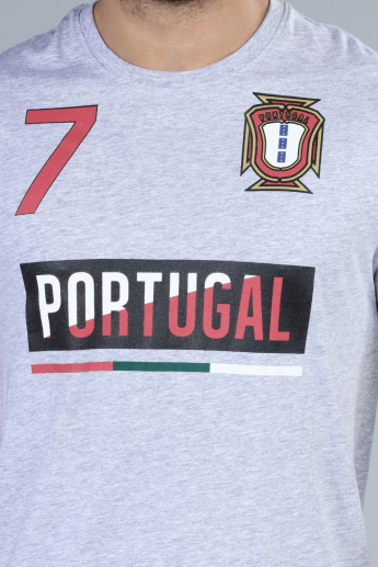 Football Special Portugal Printed T-Shirt with Round Neck