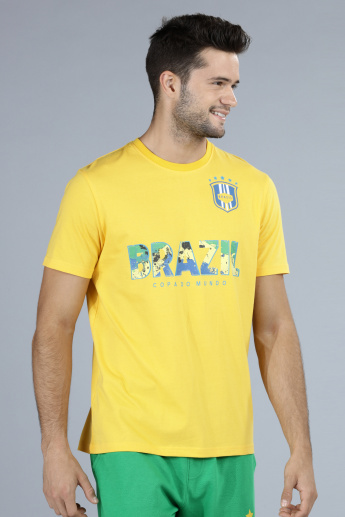 Football Special Brazil Printed T-Shirt with Short Sleeves