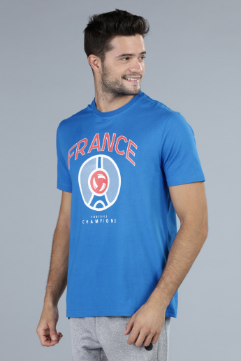 Football Special France Printed T-Shirt with Short Sleeves