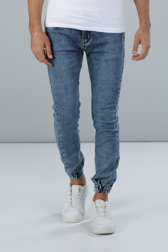 Full Length Denim Jog Pants with Pocket Detail