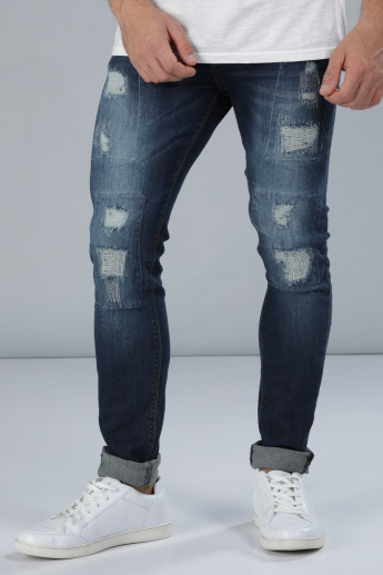 Distressed Full Length Jeans with Pocket Detail