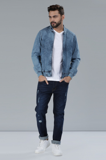 Denim Jacket with Long Sleeves and Zip Closure