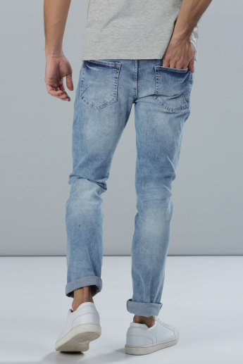 Distressed Full Length Jeans with Pocket Detail in Slim Fit