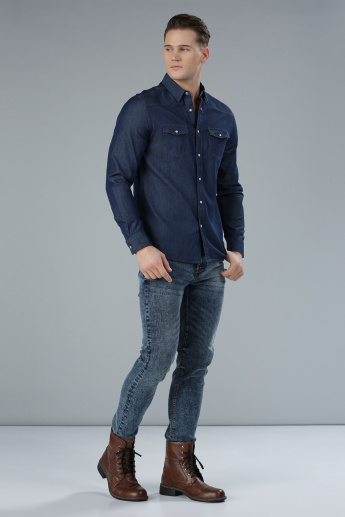 Denim Shirt with Long Sleeves