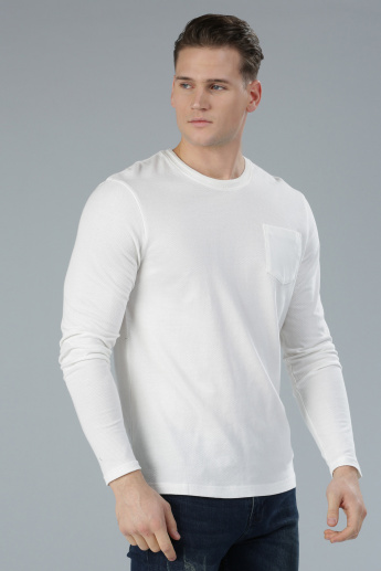 Textured T-Shirt with Long Sleeves