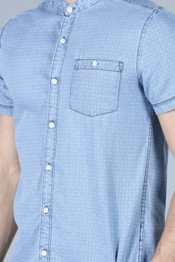 Printed Denim Shirt with Mandarin Neck