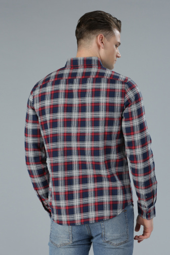 Chequered Shirt with Long Sleeves and Complete Button Placket