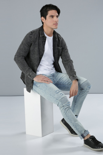 Textured Denim Shirt with Long Sleeves and Button Placket