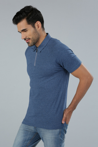 Polo Neck T-Shirt with Raglan Sleeves