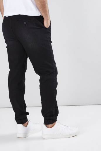 Denim Jog Pants with Elasticised Hem and Drawstring