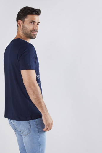 Graphic Text Printed T-Shirt with Round Neck and Short Sleeves