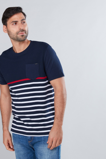 Striped T-Shirt with Short Sleeves and Pocket Detail