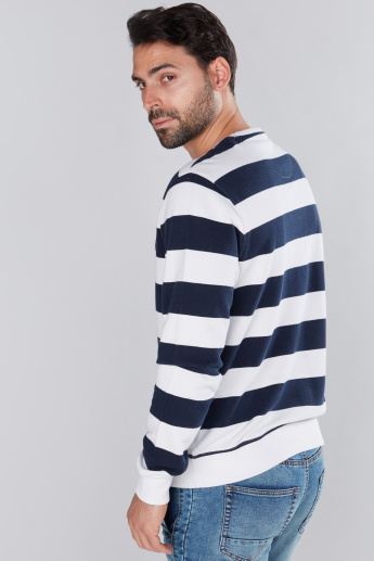 Striped Round Neck Sweatshirt with Long Sleeves