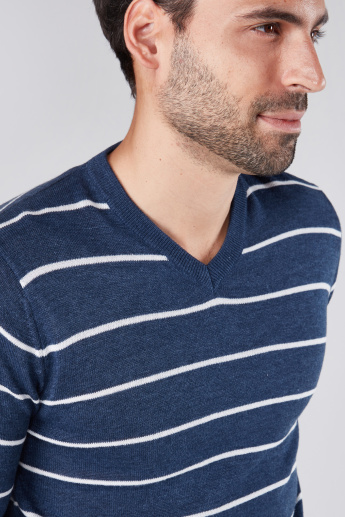 Striped Sweater with V-Neck and Long Sleeves