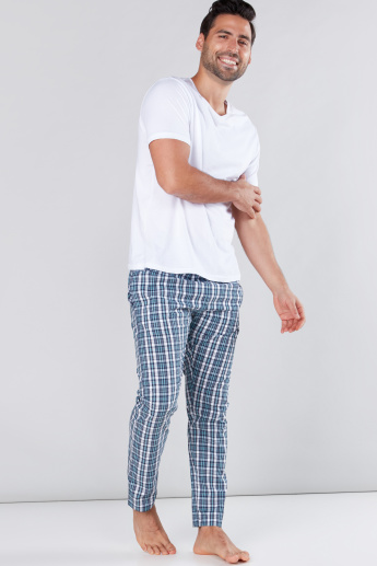 Chequered Full Length Pyjamas with Elasticised Waistband