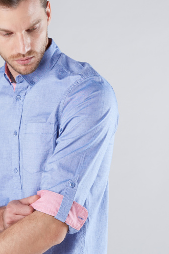 Chest Pocket Detail Shirt with Long Sleeves and Complete Placket