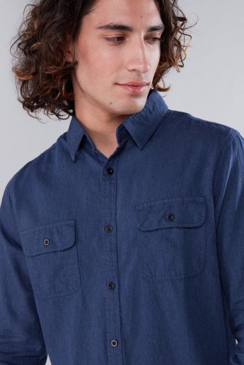 Long Sleeves Shirt in Slim Fit with Chest Pockets
