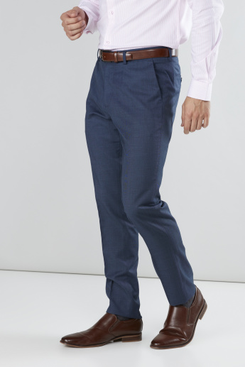 Textured Full Length Pants with Pocket Detail