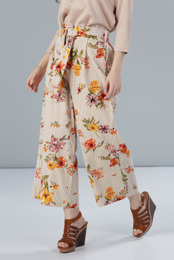 Printed Palazzo Pants with Hoop Detail