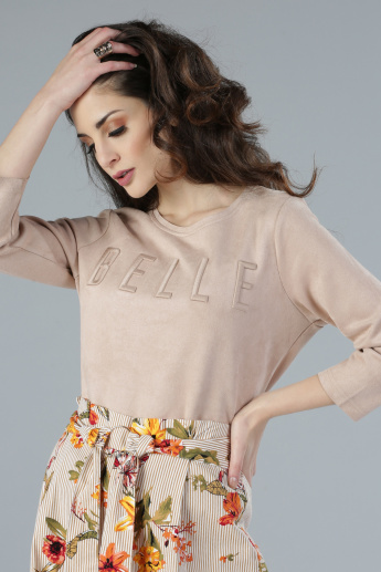 Embroidered Round Neck T-Shirt with 3/4 Sleeves