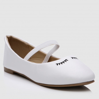 Embroidered Slip-On Shoes with Elasticised Band