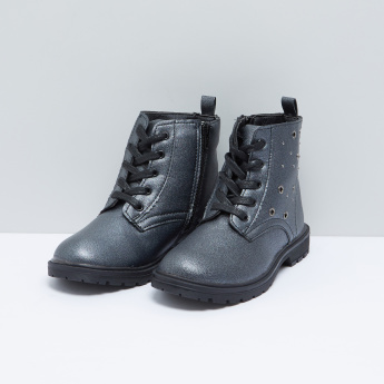 Eyelet Detail High Top Boots with Laces and Zip Closure