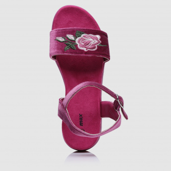 Floral Embroidered Strap Sandals with Buckle Closure