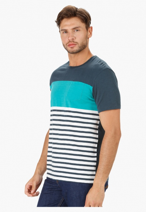 Crew Neck Striped T-Shirt with Short Sleeves in Slim Fit