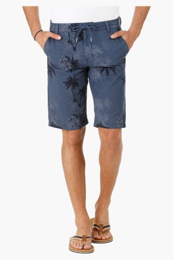 Cotton Chino Shorts with All Over Print in Slim Fit